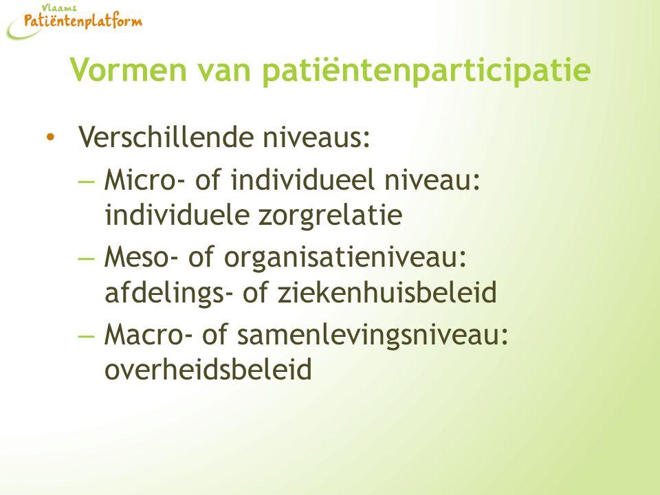 Vormen van patiëntenparticipatie Verschillende niveaus: – Micro- of individueel niveau: individuele zorgrelatie – Meso- of organisatieniveau: afdeling