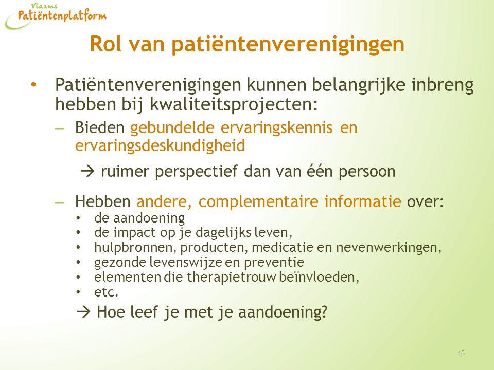 Rol van patiëntenverenigingen Patiëntenverenigingen kunnen belangrijke inbreng hebben bij kwaliteitsprojecten: – Bieden gebundelde ervaringskennis en