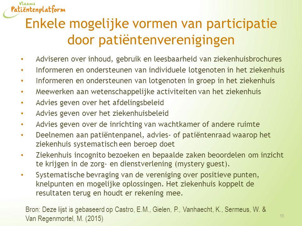 Enkele mogelijke vormen van participatie door patiëntenverenigingen Adviseren over inhoud, gebruik en leesbaarheid van ziekenhuisbrochures Informeren
