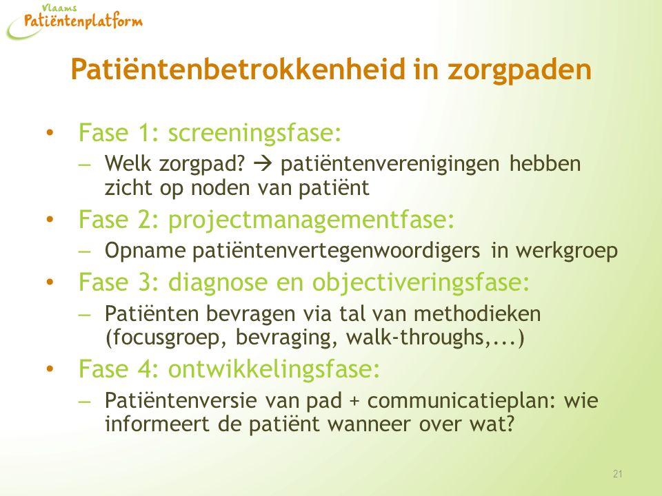 Patiëntenbetrokkenheid in zorgpaden Fase 1: screeningsfase: – Welk zorgpad?  patiëntenverenigingen hebben zicht op noden van patiënt Fase 2: projectm