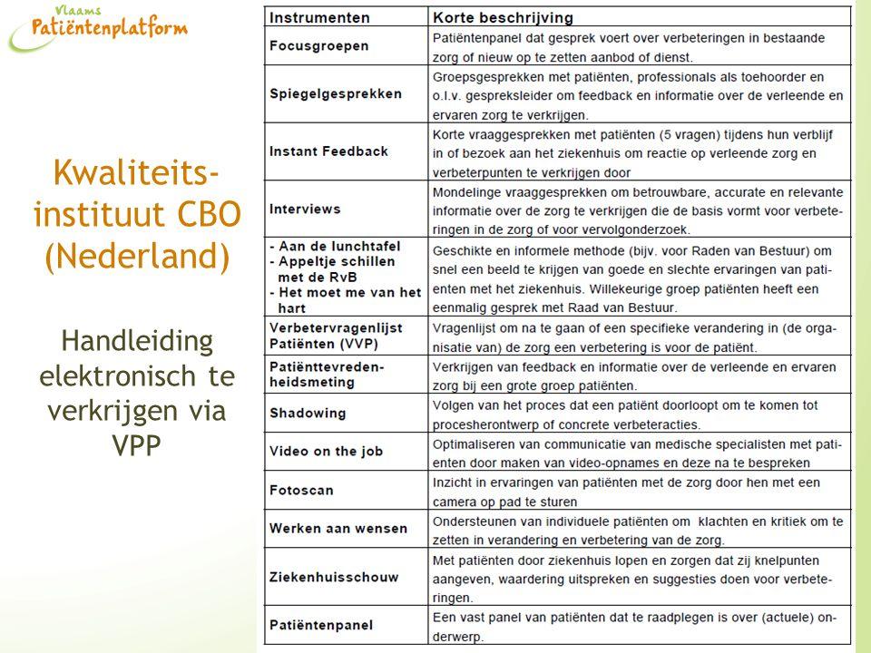 Kwaliteits- instituut CBO (Nederland) Handleiding elektronisch te verkrijgen via VPP 23