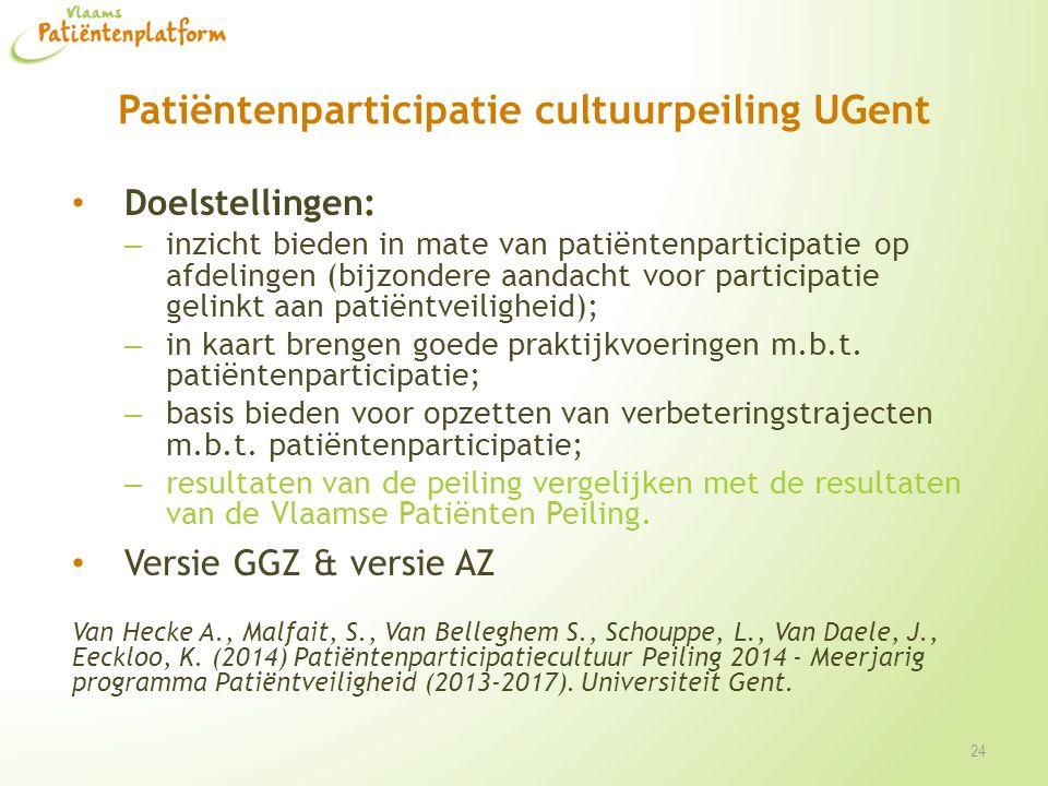 Patiëntenparticipatie cultuurpeiling UGent Doelstellingen: – inzicht bieden in mate van patiëntenparticipatie op afdelingen (bijzondere aandacht voor