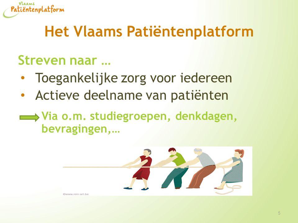 Het Vlaams Patiëntenplatform Streven naar … Toegankelijke zorg voor iedereen Actieve deelname van patiënten Via o.m. studiegroepen, denkdagen, bevragi