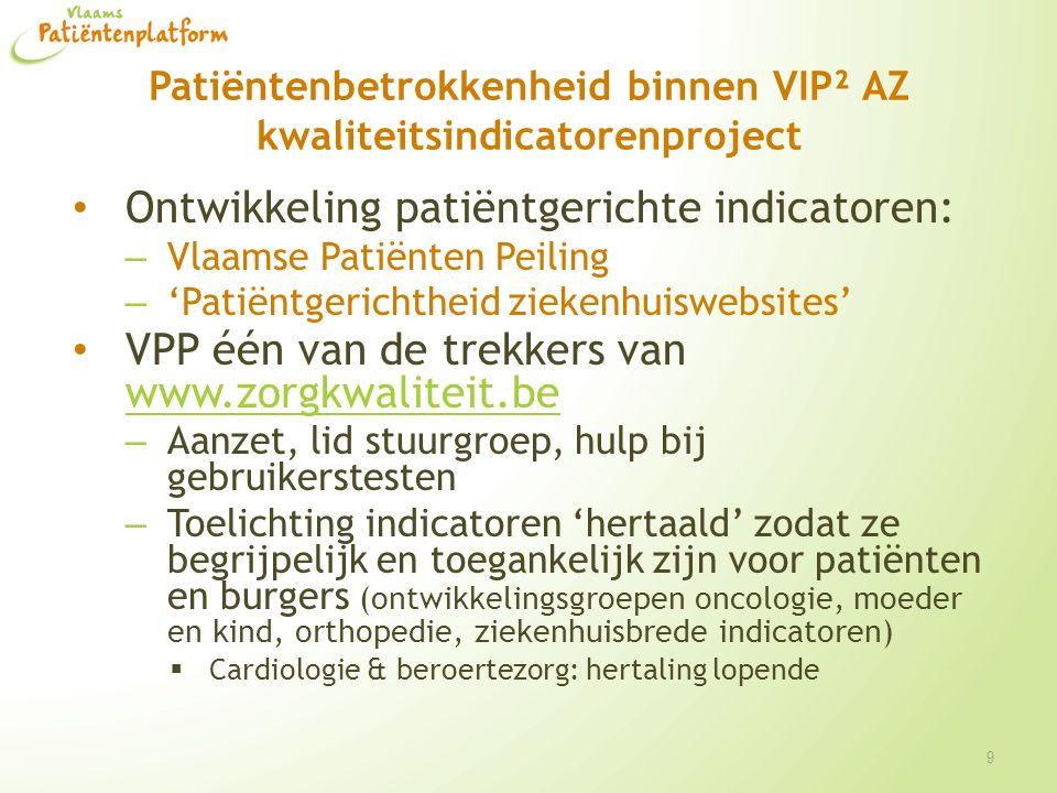 Patiëntenbetrokkenheid binnen VIP² AZ kwaliteitsindicatorenproject Ontwikkeling patiëntgerichte indicatoren: – Vlaamse Patiënten Peiling – 'Patiëntger