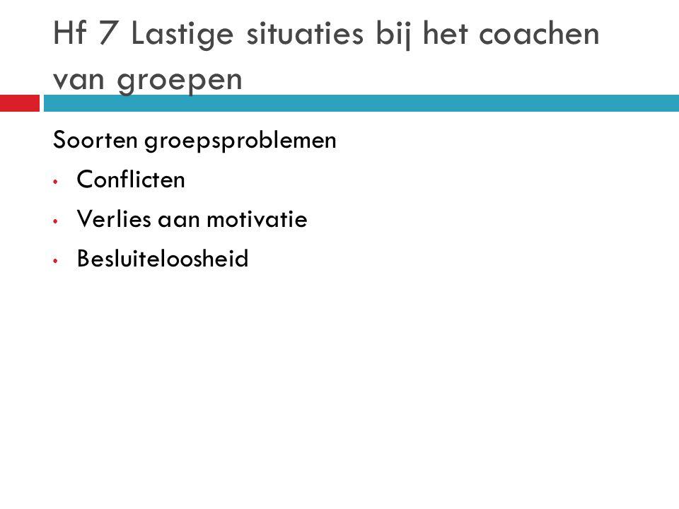 Hf 7 Lastige situaties bij het coachen van groepen Soorten groepsproblemen Conflicten Verlies aan motivatie Besluiteloosheid