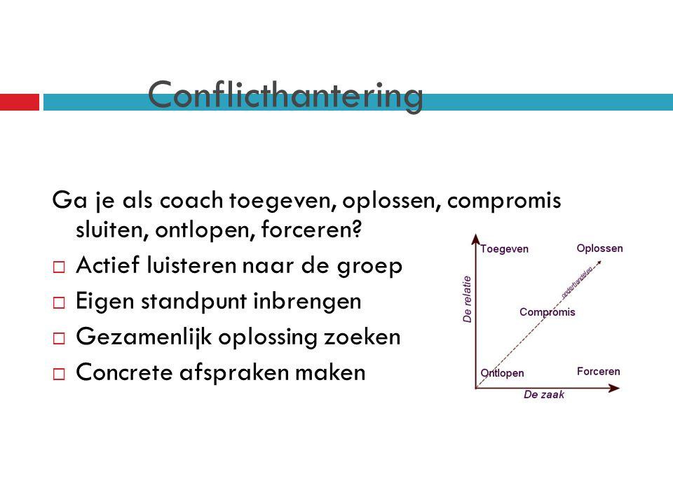 Conflicthantering Ga je als coach toegeven, oplossen, compromis sluiten, ontlopen, forceren.