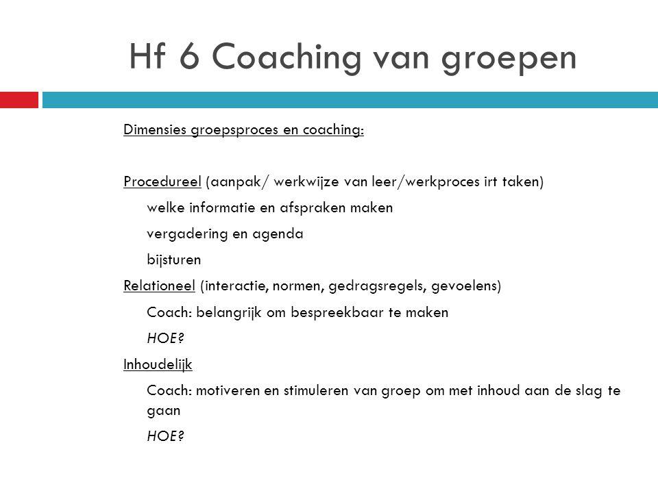 Hf 6 Coaching van groepen Dimensies groepsproces en coaching: Procedureel (aanpak/ werkwijze van leer/werkproces irt taken) welke informatie en afspraken maken vergadering en agenda bijsturen Relationeel (interactie, normen, gedragsregels, gevoelens) Coach: belangrijk om bespreekbaar te maken HOE.