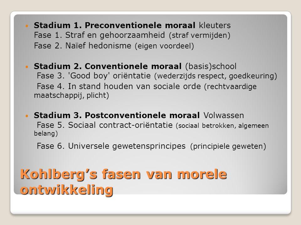 Kohlberg's fasen van morele ontwikkeling Stadium 1. Preconventionele moraal kleuters Fase 1. Straf en gehoorzaamheid (straf vermijden) Fase 2. Naïef h
