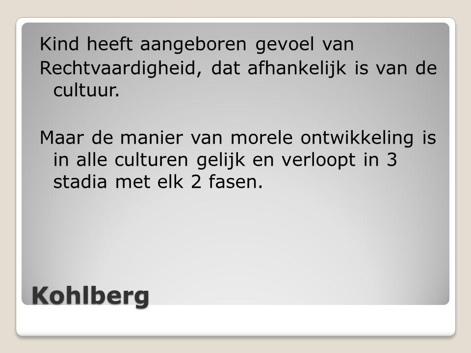 Kohlberg Kind heeft aangeboren gevoel van Rechtvaardigheid, dat afhankelijk is van de cultuur. Maar de manier van morele ontwikkeling is in alle cultu
