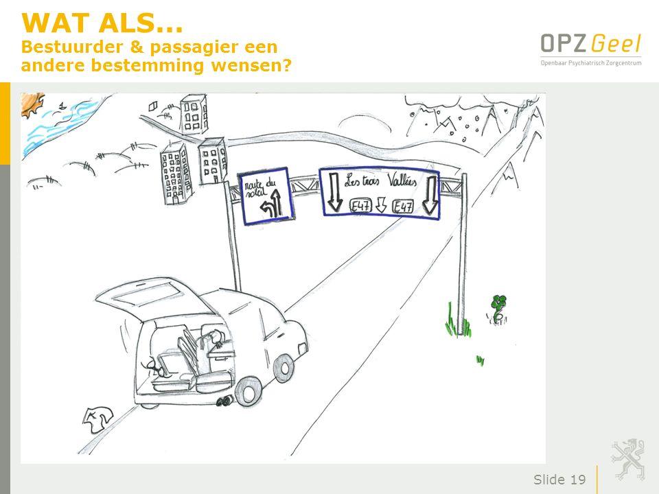 WAT ALS... Bestuurder & passagier een andere bestemming wensen? Slide 19