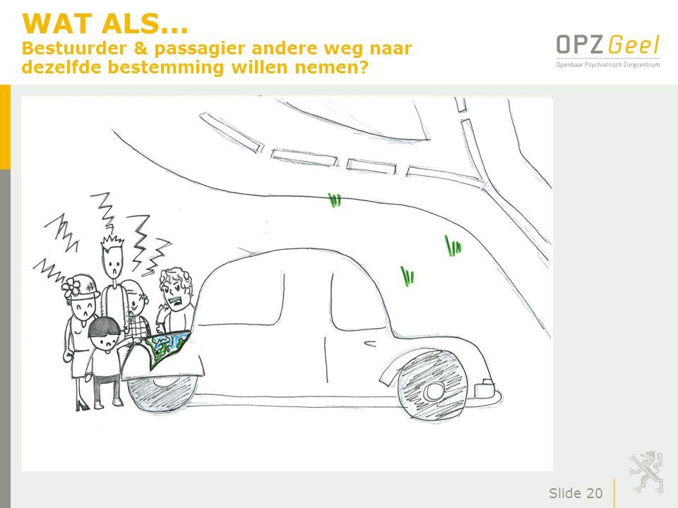 WAT ALS... Bestuurder & passagier andere weg naar dezelfde bestemming willen nemen? Slide 20