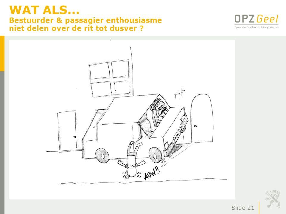 WAT ALS... Bestuurder & passagier enthousiasme niet delen over de rit tot dusver ? Slide 21