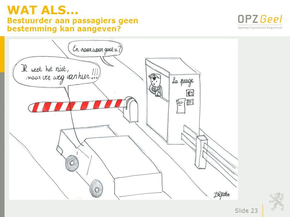 WAT ALS... Bestuurder aan passagiers geen bestemming kan aangeven? Slide 23
