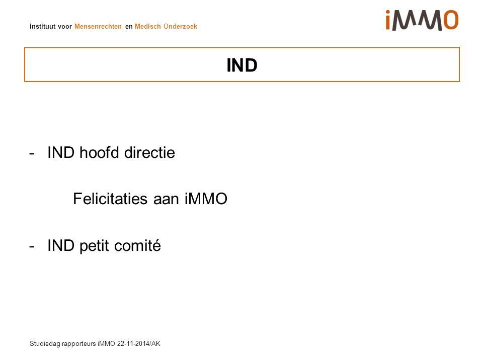 instituut voor Mensenrechten en Medisch Onderzoek IND -IND hoofd directie Felicitaties aan iMMO -IND petit comité Studiedag rapporteurs iMMO 22-11-2014/AK