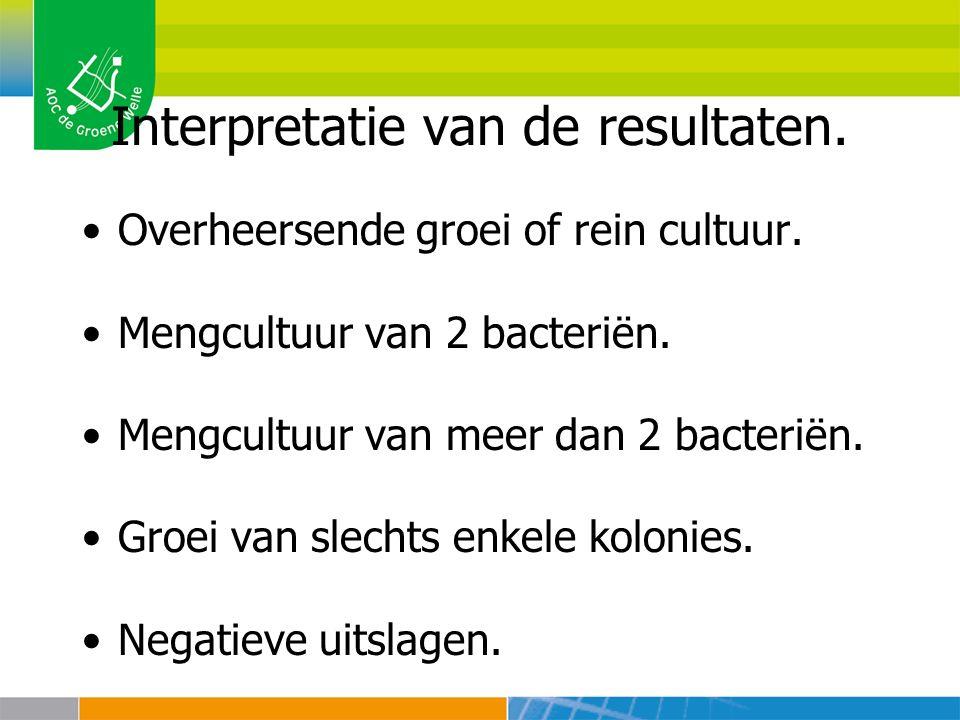 Interpretatie van de resultaten. Overheersende groei of rein cultuur. Mengcultuur van 2 bacteriën. Mengcultuur van meer dan 2 bacteriën. Groei van sle
