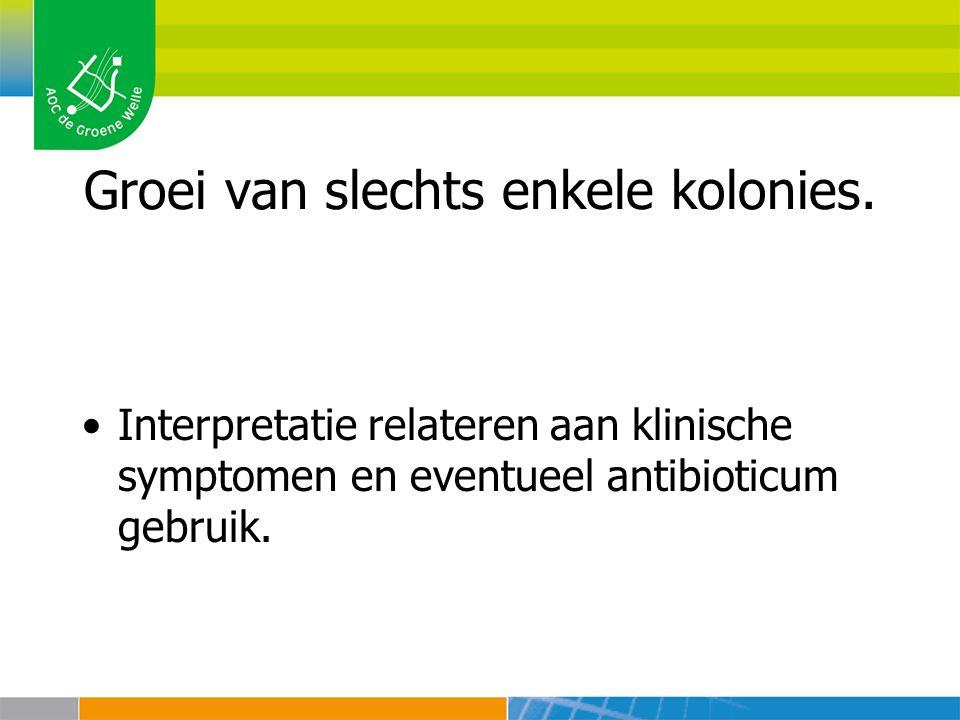 Groei van slechts enkele kolonies. Interpretatie relateren aan klinische symptomen en eventueel antibioticum gebruik.
