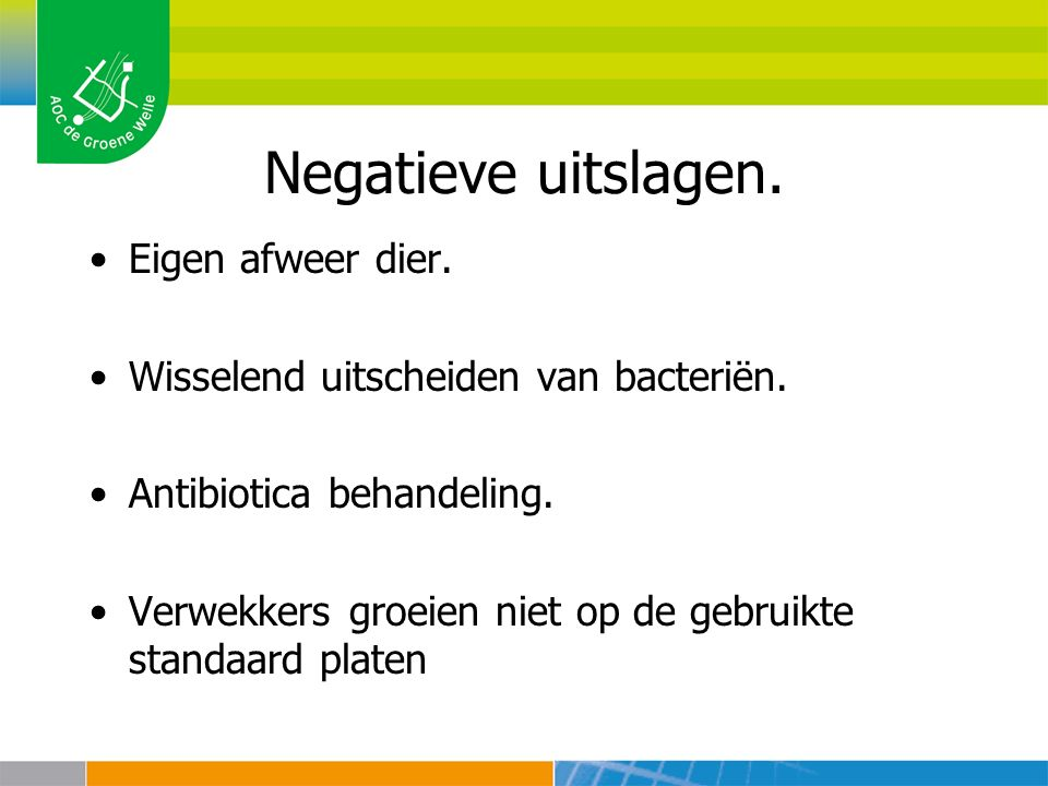 Negatieve uitslagen. Eigen afweer dier. Wisselend uitscheiden van bacteriën. Antibiotica behandeling. Verwekkers groeien niet op de gebruikte standaar