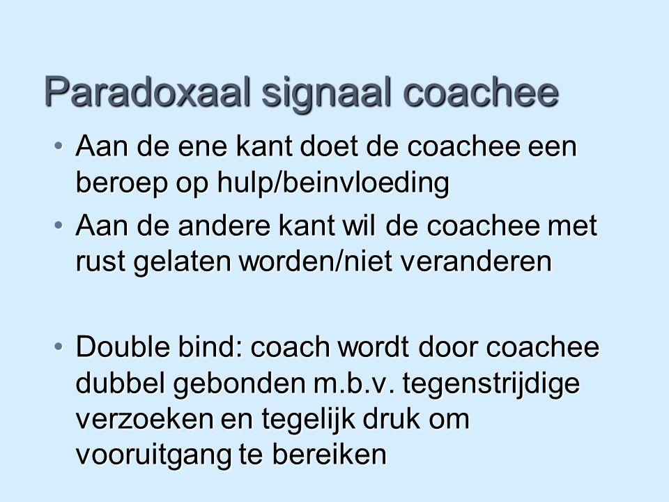 Paradoxaal signaal coachee Aan de ene kant doet de coachee een beroep op hulp/beinvloedingAan de ene kant doet de coachee een beroep op hulp/beinvloed