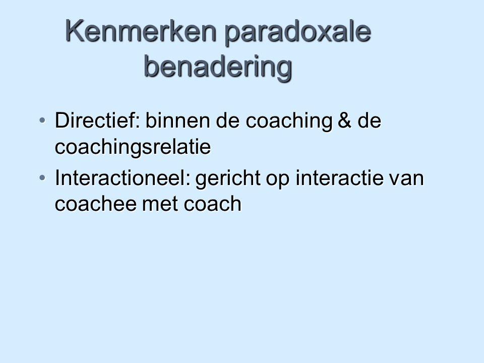 Kenmerken paradoxale benadering Directief: binnen de coaching & de coachingsrelatieDirectief: binnen de coaching & de coachingsrelatie Interactioneel:
