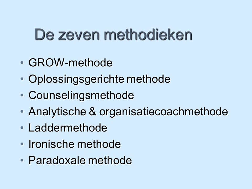 De zeven methodieken GROW-methodeGROW-methode Oplossingsgerichte methodeOplossingsgerichte methode CounselingsmethodeCounselingsmethode Analytische &