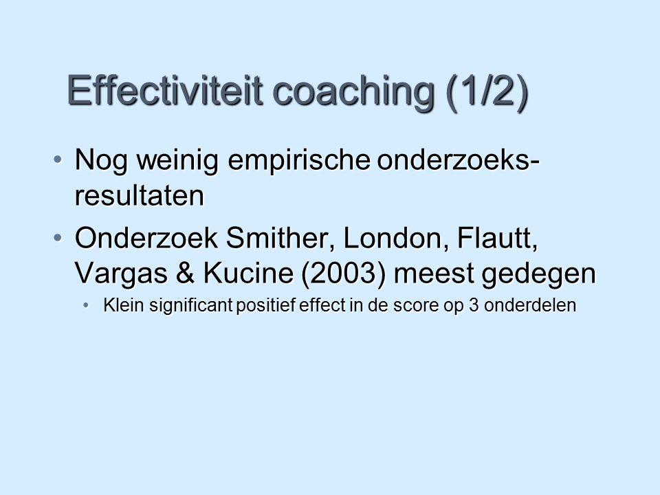 Effectiviteit coaching (1/2) Nog weinig empirische onderzoeks- resultatenNog weinig empirische onderzoeks- resultaten Onderzoek Smither, London, Flaut