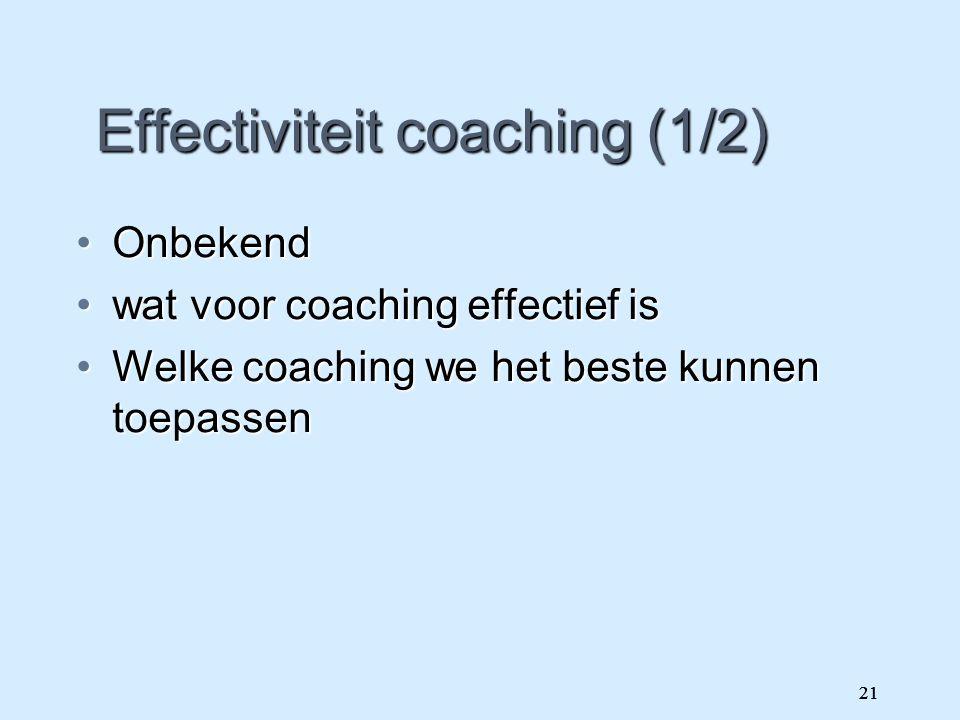 21 Effectiviteit coaching (1/2) OnbekendOnbekend wat voor coaching effectief iswat voor coaching effectief is Welke coaching we het beste kunnen toepa
