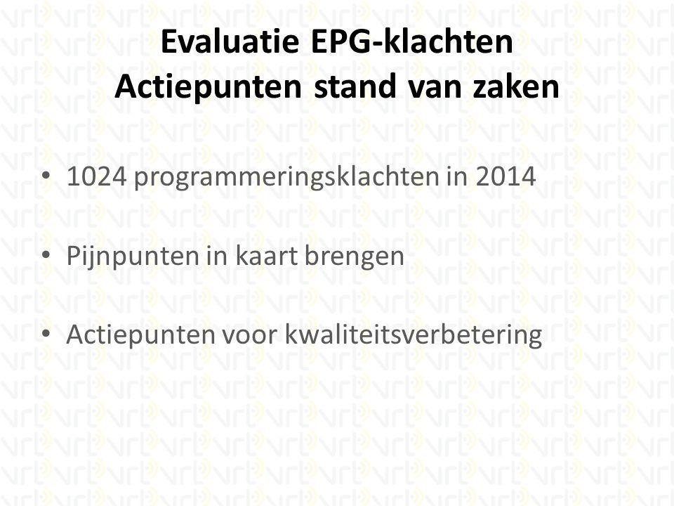 Evaluatie EPG-klachten Actiepunten stand van zaken 1024 programmeringsklachten in 2014 Pijnpunten in kaart brengen Actiepunten voor kwaliteitsverbetering