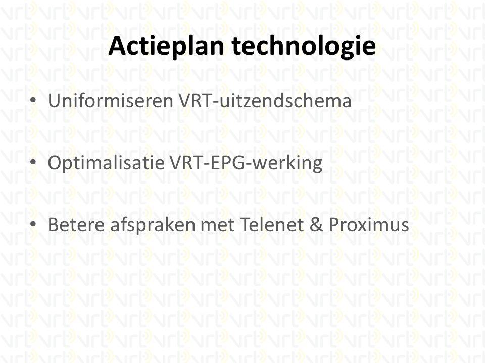 Actieplan technologie Uniformiseren VRT-uitzendschema Optimalisatie VRT-EPG-werking Betere afspraken met Telenet & Proximus
