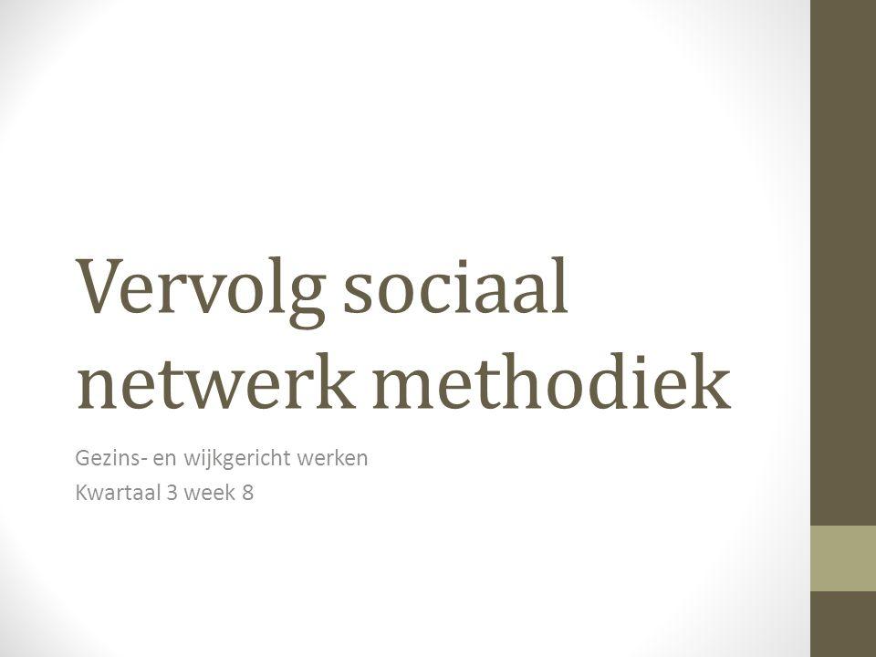 Vervolg sociaal netwerk methodiek Gezins- en wijkgericht werken Kwartaal 3 week 8