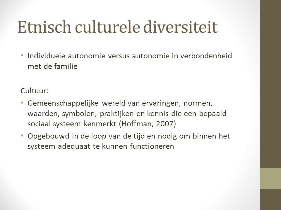 Etnisch culturele diversiteit Individuele autonomie versus autonomie in verbondenheid met de familie Cultuur: Gemeenschappelijke wereld van ervaringen