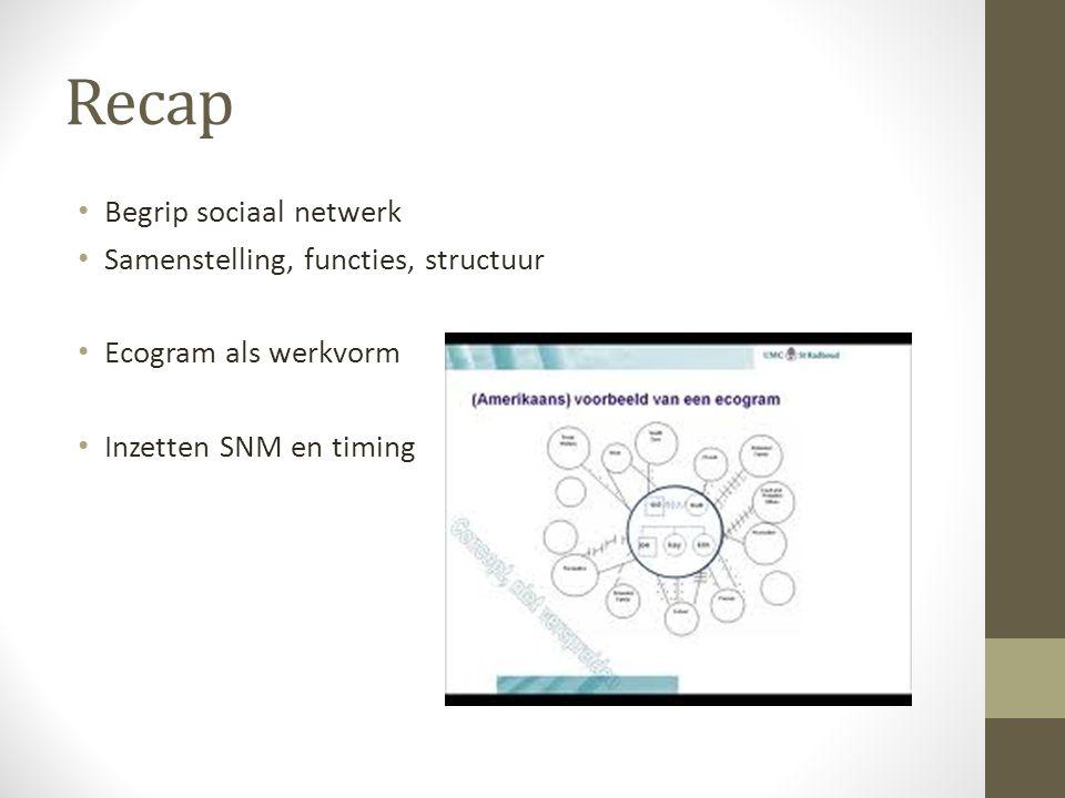 Recap Begrip sociaal netwerk Samenstelling, functies, structuur Ecogram als werkvorm Inzetten SNM en timing