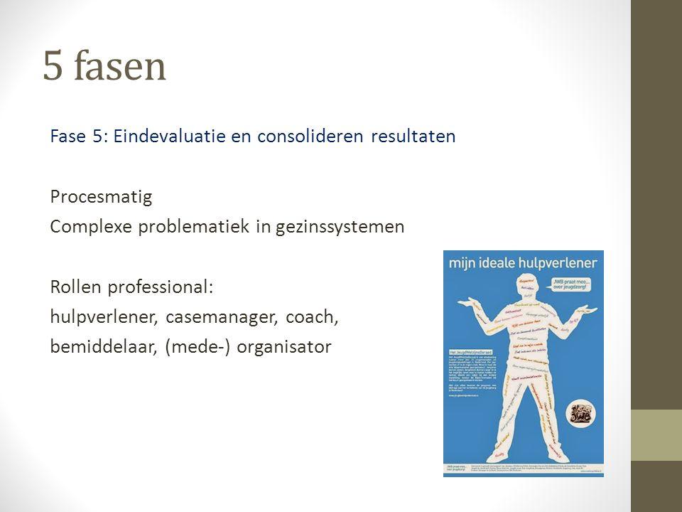 5 fasen Fase 5: Eindevaluatie en consolideren resultaten Procesmatig Complexe problematiek in gezinssystemen Rollen professional: hulpverlener, casema