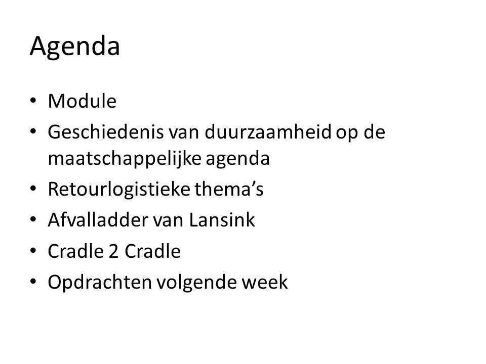Agenda Module Geschiedenis van duurzaamheid op de maatschappelijke agenda Retourlogistieke thema's Afvalladder van Lansink Cradle 2 Cradle Opdrachten volgende week