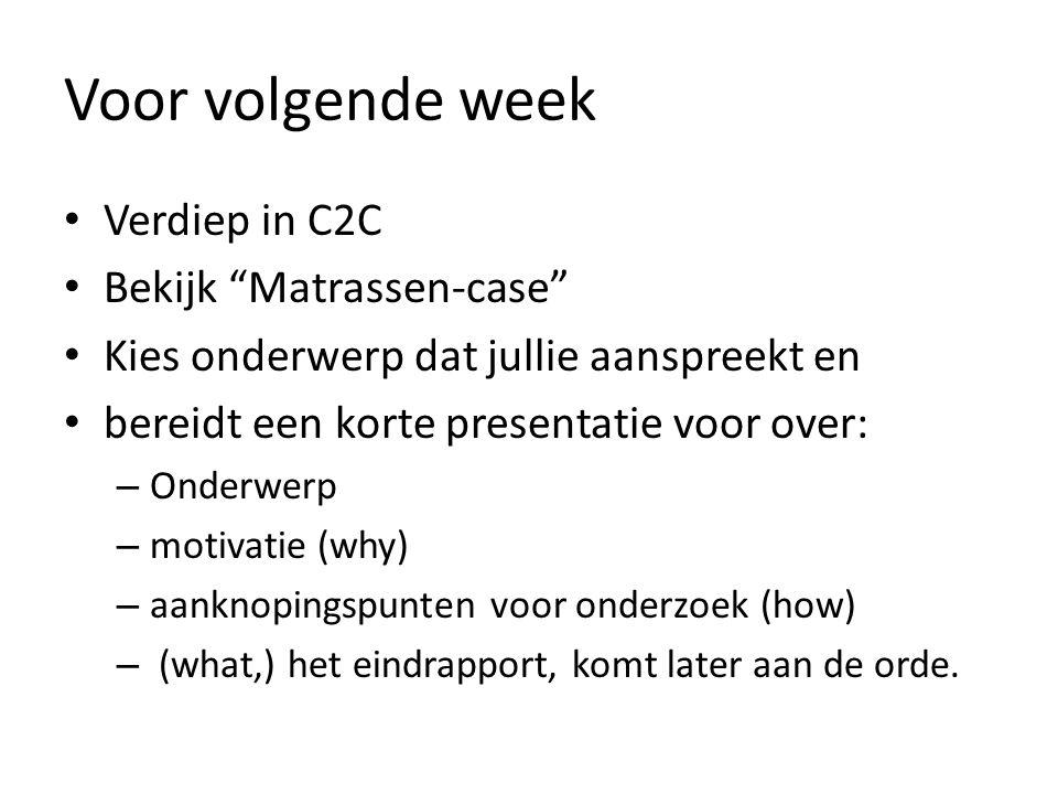 Voor volgende week Verdiep in C2C Bekijk Matrassen-case Kies onderwerp dat jullie aanspreekt en bereidt een korte presentatie voor over: – Onderwerp – motivatie (why) – aanknopingspunten voor onderzoek (how) – (what,) het eindrapport, komt later aan de orde.