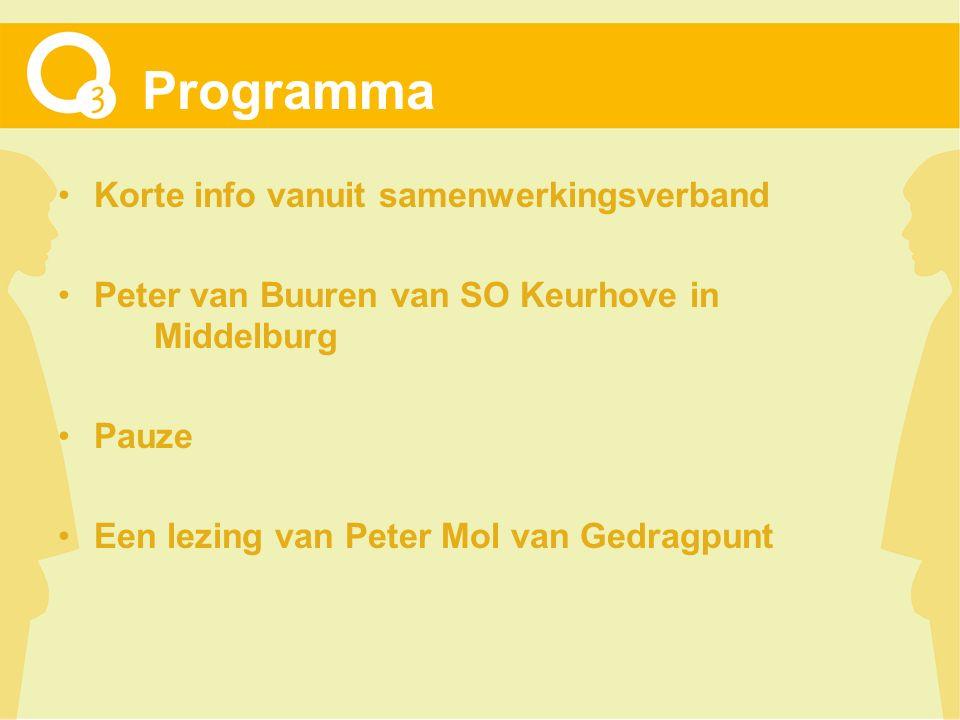 Programma Korte info vanuit samenwerkingsverband Peter van Buuren van SO Keurhove in Middelburg Pauze Een lezing van Peter Mol van Gedragpunt