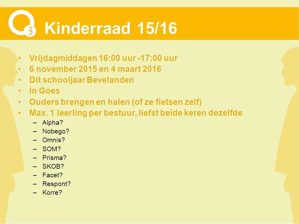 Kinderraad 15/16 Vrijdagmiddagen 16:00 uur -17:00 uur 6 november 2015 en 4 maart 2016 Dit schooljaar Bevelanden In Goes Ouders brengen en halen (of ze