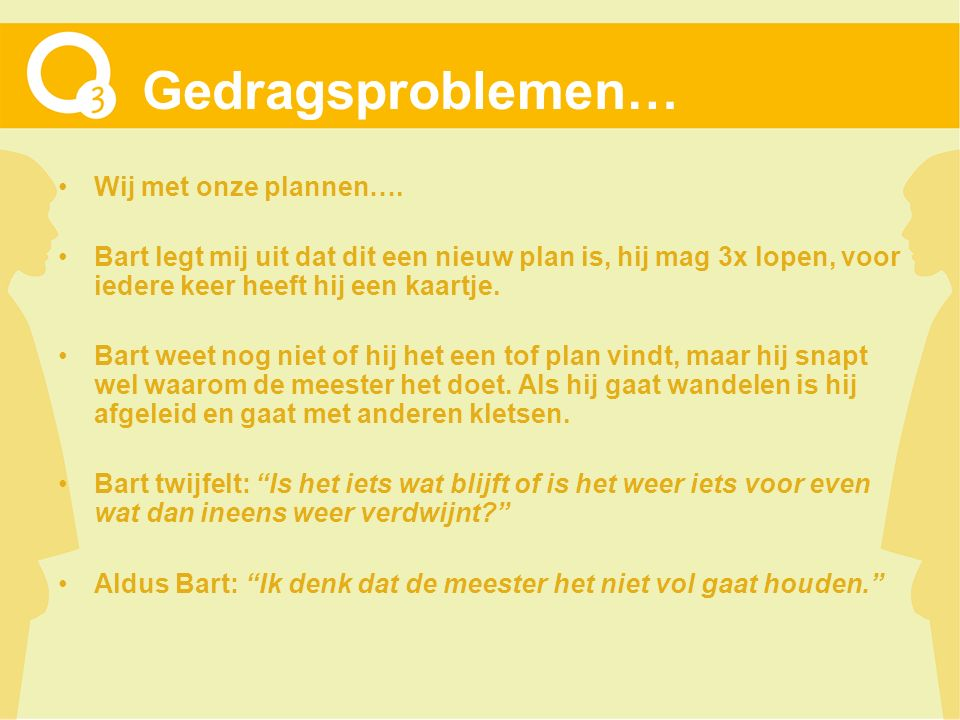Gedragsproblemen… Wij met onze plannen…. Bart legt mij uit dat dit een nieuw plan is, hij mag 3x lopen, voor iedere keer heeft hij een kaartje. Bart w