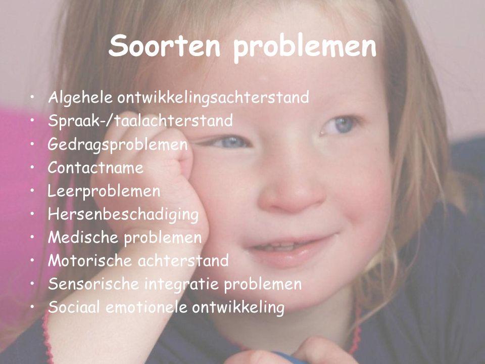Soorten problemen Algehele ontwikkelingsachterstand Spraak-/taalachterstand Gedragsproblemen Contactname Leerproblemen Hersenbeschadiging Medische pro