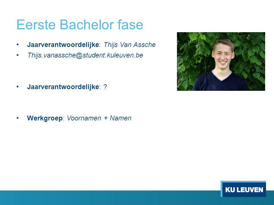 Eerste Bachelor fase Jaarverantwoordelijke: Thijs Van Assche Thijs.vanassche@student.kuleuven.be Jaarverantwoordelijke: .