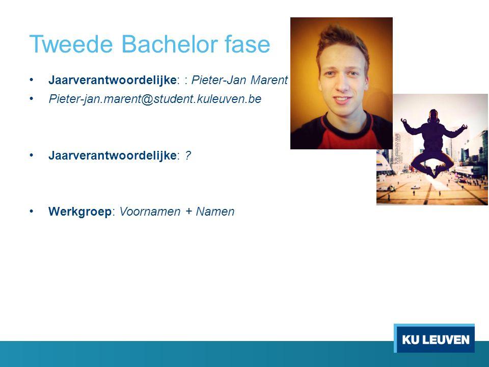 Tweede Bachelor fase Jaarverantwoordelijke: : Pieter-Jan Marent Pieter-jan.marent@student.kuleuven.be Jaarverantwoordelijke: .