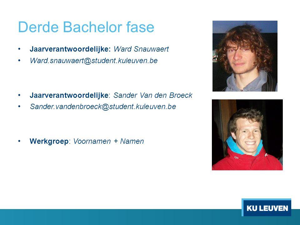 Derde Bachelor fase Jaarverantwoordelijke: Ward Snauwaert Ward.snauwaert@student.kuleuven.be Jaarverantwoordelijke: Sander Van den Broeck Sander.vandenbroeck@student.kuleuven.be Werkgroep: Voornamen + Namen
