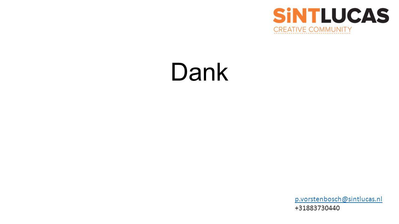 Dank p.vorstenbosch@sintlucas.nl +31883730440