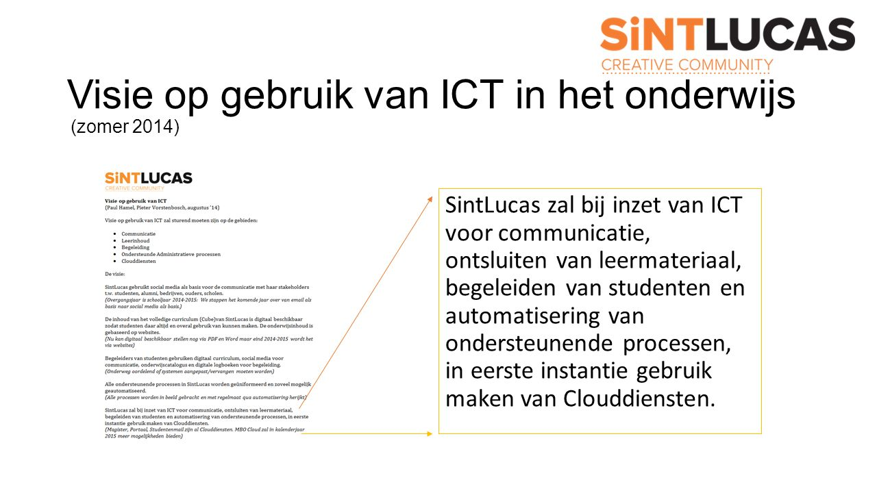 Visie op gebruik van ICT in het onderwijs (zomer 2014) SintLucas zal bij inzet van ICT voor communicatie, ontsluiten van leermateriaal, begeleiden van