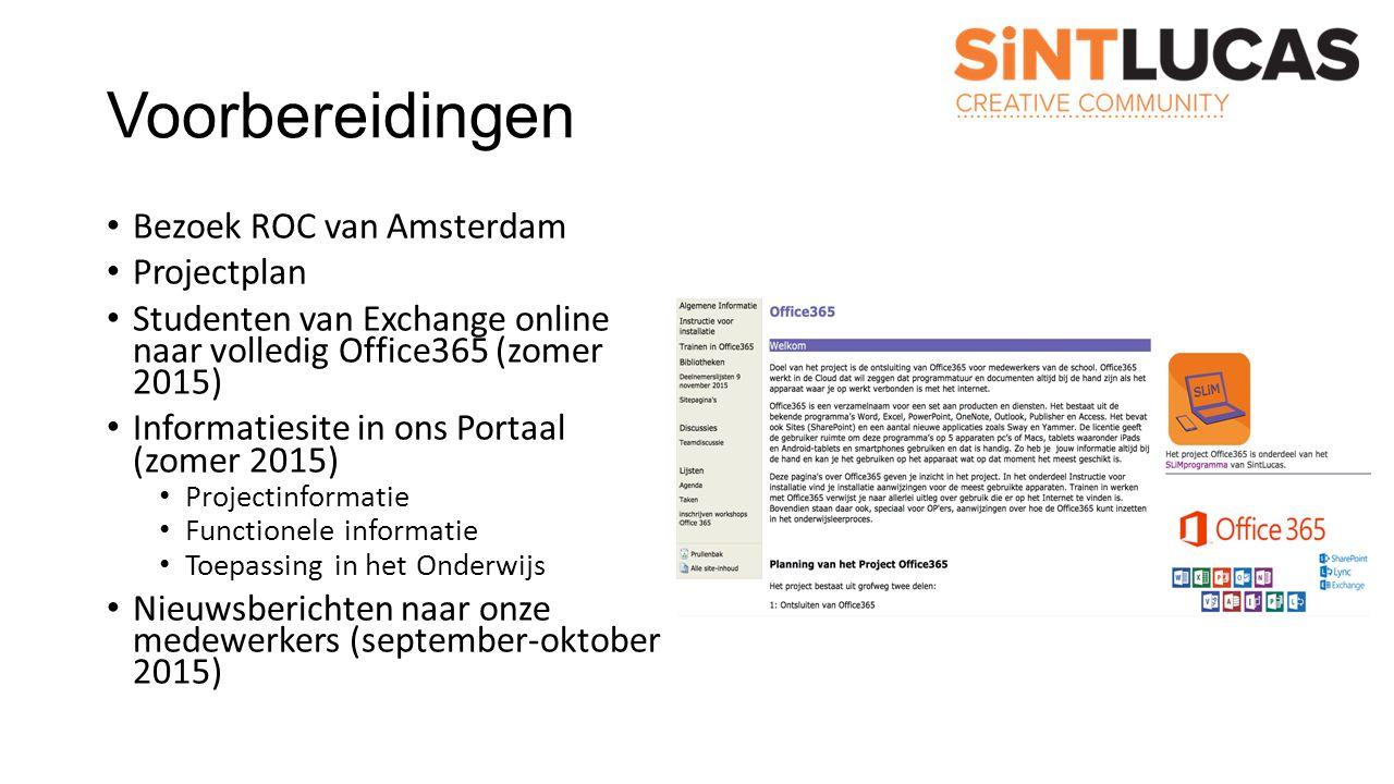 Voorbereidingen Bezoek ROC van Amsterdam Projectplan Studenten van Exchange online naar volledig Office365 (zomer 2015) Informatiesite in ons Portaal (zomer 2015) Projectinformatie Functionele informatie Toepassing in het Onderwijs Nieuwsberichten naar onze medewerkers (september-oktober 2015)