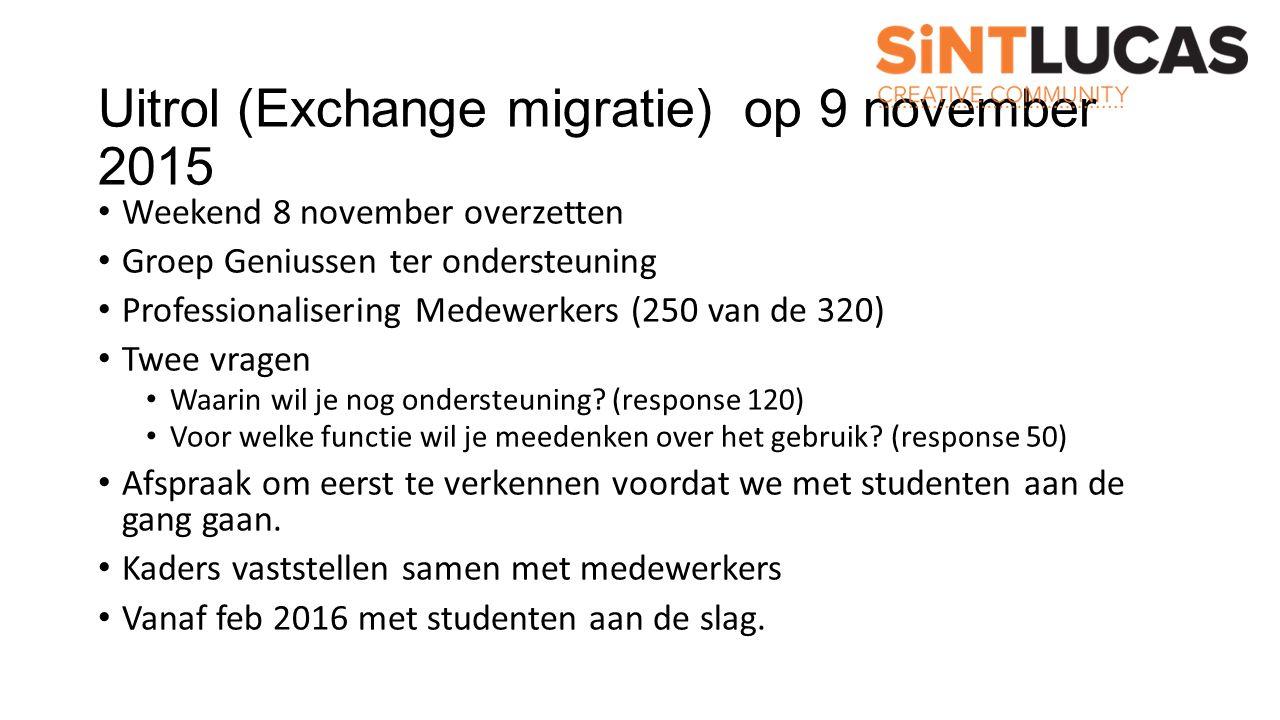 Uitrol (Exchange migratie) op 9 november 2015 Weekend 8 november overzetten Groep Geniussen ter ondersteuning Professionalisering Medewerkers (250 van de 320) Twee vragen Waarin wil je nog ondersteuning.