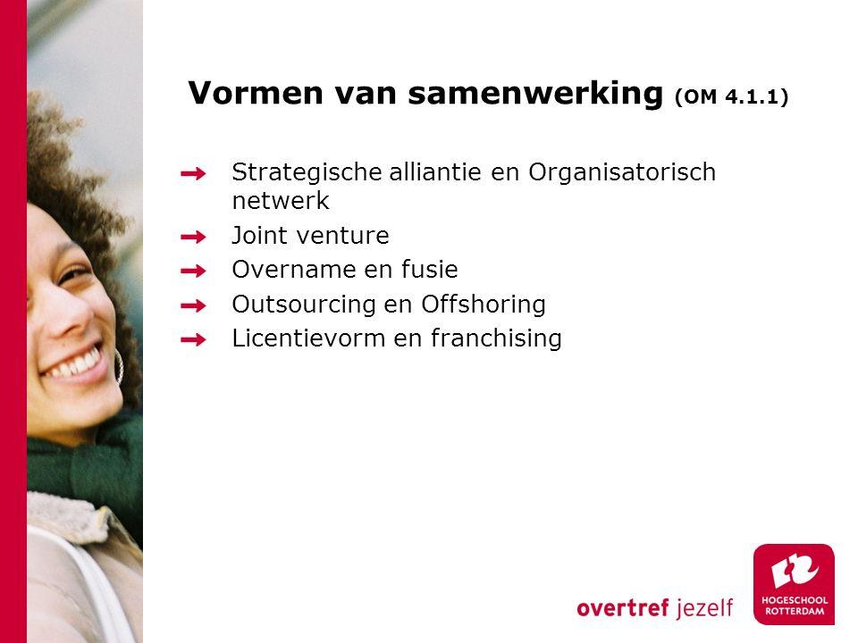 Vormen van samenwerking (OM 4.1.1) Strategische alliantie en Organisatorisch netwerk Joint venture Overname en fusie Outsourcing en Offshoring Licenti