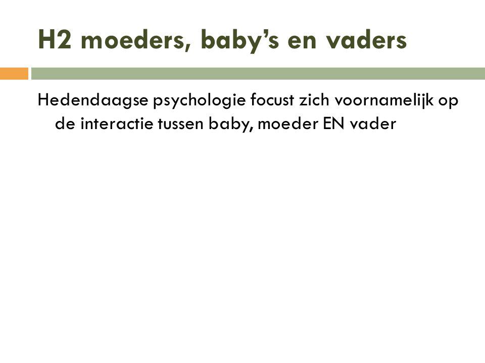 H2 moeders, baby's en vaders Hedendaagse psychologie focust zich voornamelijk op de interactie tussen baby, moeder EN vader