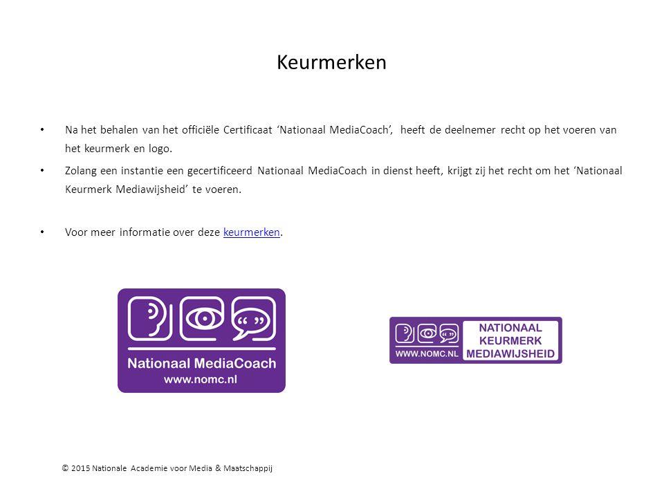 Keurmerken Na het behalen van het officiële Certificaat 'Nationaal MediaCoach', heeft de deelnemer recht op het voeren van het keurmerk en logo.