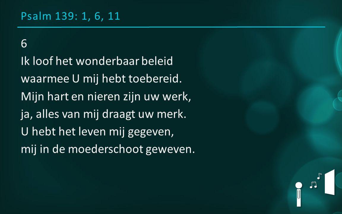 Psalm 139: 1, 6, 11 6 Ik loof het wonderbaar beleid waarmee U mij hebt toebereid. Mijn hart en nieren zijn uw werk, ja, alles van mij draagt uw merk.