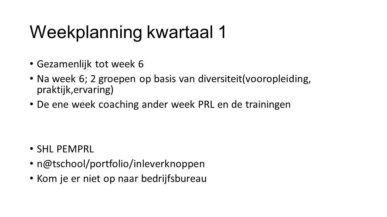 Weekplanning kwartaal 1 Gezamenlijk tot week 6 Na week 6; 2 groepen op basis van diversiteit(vooropleiding, praktijk,ervaring) De ene week coaching an